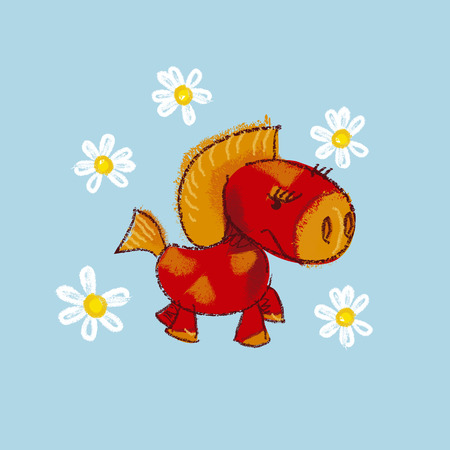 baby playing toy: illustration of kiddy little red pony with daisy