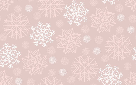 nuance: Vector illustration, template for Christmas greeting. Seamless pale tender color pattern of abstract geometry snow flakes. Illustration