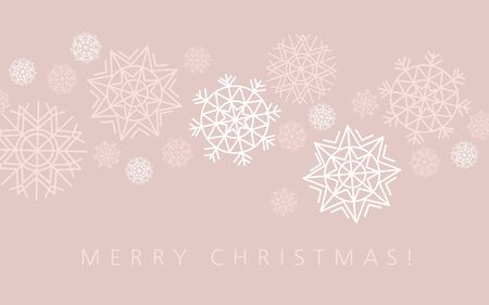 nuance: snowflake winter background in gentle feminine style. Vector illustration, template for Christmas greeting
