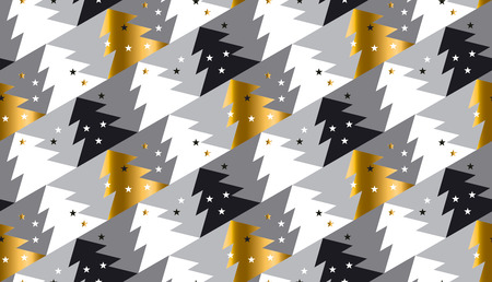 christmas motif: Elegant Christmas tree seamless geometry pattern in luxury gray colors. gold and white winter fest repeatable motif with stars and trees. vector illustration