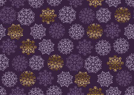 Christmas snowflakes seamless pattern. New Year festive geometric pattern swatch vector illustration. repeatable geometry modern motif Illustration