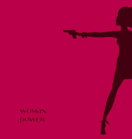 Vektor-Illustration der Silhouette der Frau mit Pistole. Spy Agent Konzept. Mode Mädchen Figur.
