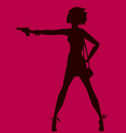 vector illustratie van de vrouw silhouet met pistool. spy-agent concept. mode meisje figuur. Stock Illustratie