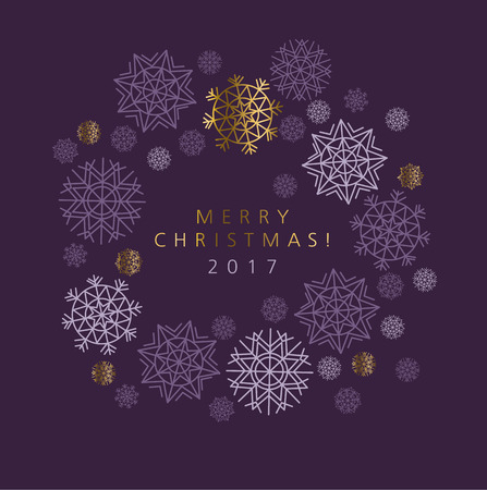 knightly: Classic Christmas snowflakes elegant card or header. Violet purple color background with snow. pattern vector illustration. geometry modern motif Illustration
