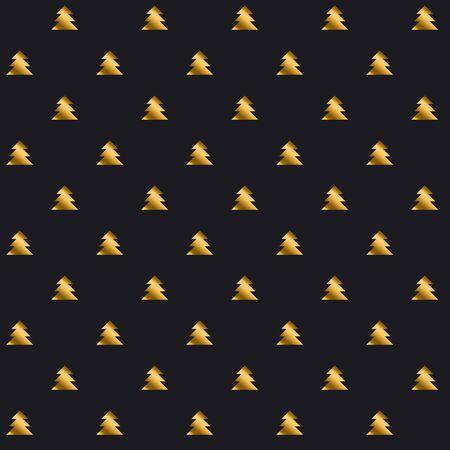 christmas motif: simple elegant Christmas tree seamless pattern. black and gold repeatable motif. vector illustration Illustration