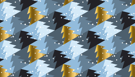 christmas motif: Elegant Christmas tree seamless geometry pattern in luxury marine gray colors. gold and blue winter fest repeatable motif. xmas tree and snow vector illustration Illustration