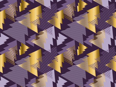 knightly: Christmas tree seamless modern pattern. Rich violet color background geometry arrow seamless fabric sample. geometric pattern swatch vector illustration