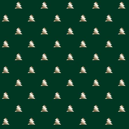 christmas motif: simple elegant Christmas tree seamless pattern. green and silver repeatable motif. vector illustration