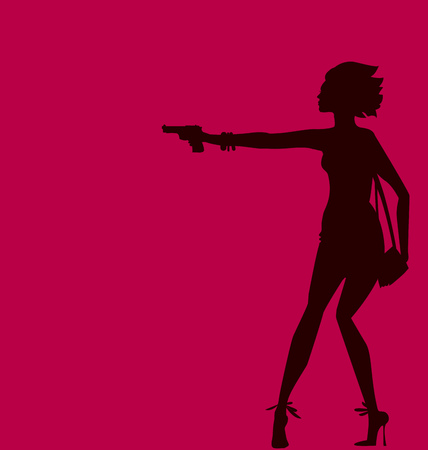 girl with gun: vector illustration of woman silhouette with gun. spy agent concept. fashion girl figure.