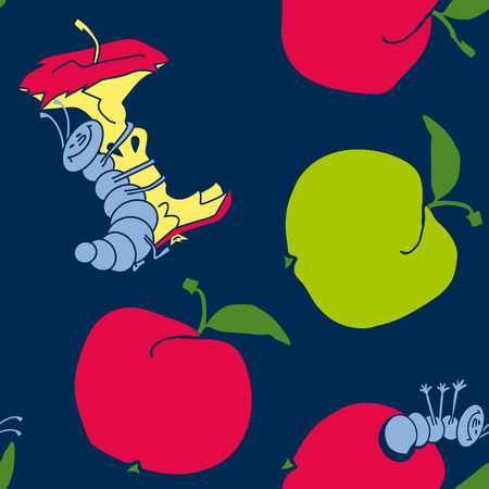 cute apple worm and red apple. fun concept eco healthy food seamless pattern. vector illustration. blue background fabric