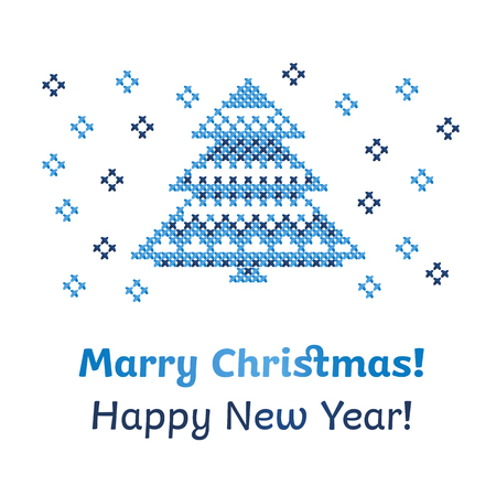 peasant: peasant folk rustic motif of christmass tree cross stitch pattern. vector illustration of new year greetings card Illustration
