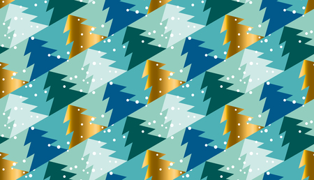christmas motif: Elegant Christmas tree seamless geometry pattern in luxury marine blue colors. gold and blue winter fest repeatable motif. xmas tree and snow vector illustration