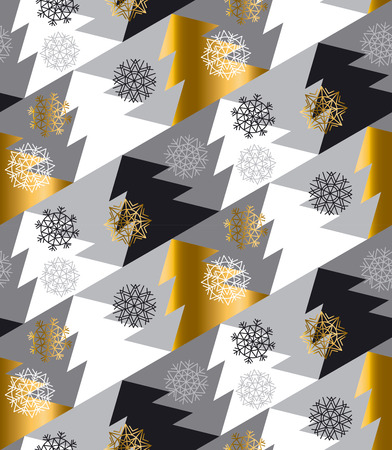 christmas motif: Elegant Christmas tree seamless geometry pattern in luxury gray colors. gold and white winter fest repeatable motif with snowflakes and trees. vector illustration