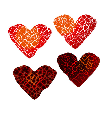 abstract broken heart symbol. red hot love passion icon. concept vector illustration for poster or cover. cracelure texture pattern in heart shape