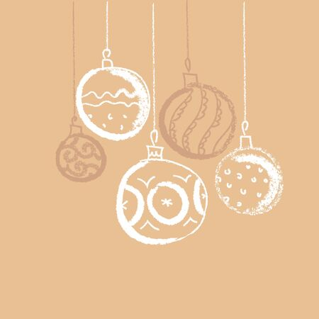 CHristmas bauble background. Seasonal winter decoration. vector illustration. Hand drawn xmas tree balls.