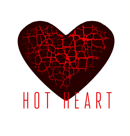 Love Icon Concept Abstract Broken Heart Symbol Red Hot Love