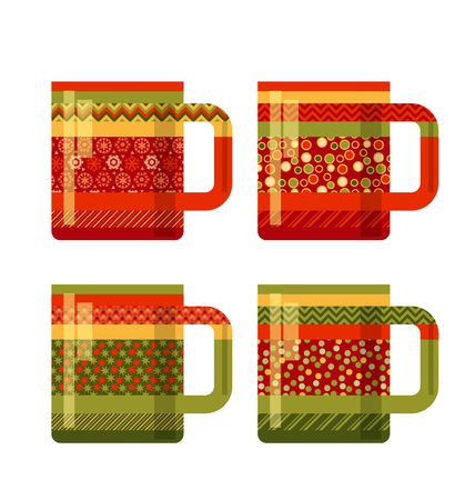 peasant: concept xmas style rustic cups. souvenir mugs set with patchwork peasant ornament. Santa cup of tea. abstract greeting card for winter holiday