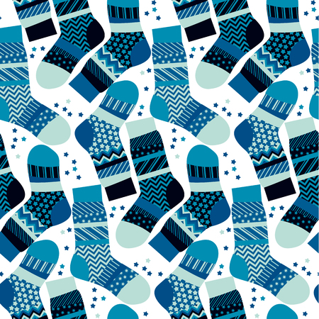 peasant: Christmas blue striped socks wrapping paper in patchwork style. Xmas seamless pattern vector illustration. Peasant style patch repeatable fabric mosaic for warm xmas greetings