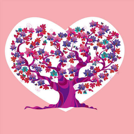 love tree: abstract concept pink love tree vector illustration