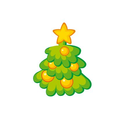 Childish cute Christmas tree. Kid style little decorated holiday trees on white background. Ornamented festive image in simple funny style