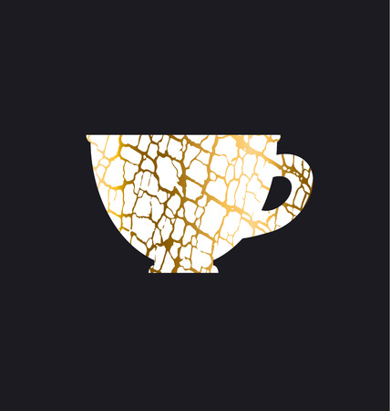 decorative antique textured vector illustration. gold luxury cup icon. antique decay symbol design element. old coffee cafe concept poster. 向量圖像
