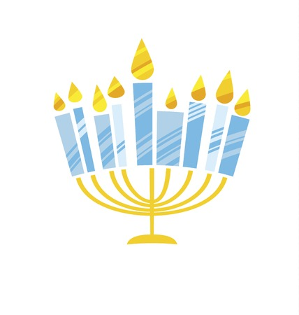 cute kiddy style hanukkah menora vector illustration. Juish menora simple vector icon. hanuka candles symbol.