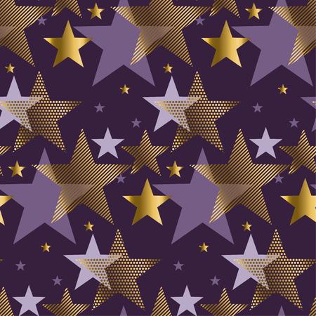Concept Abstract Starry Night Vector Illustration. Modern Style Factive  Star Seamless Pattern. Luxury Purple
