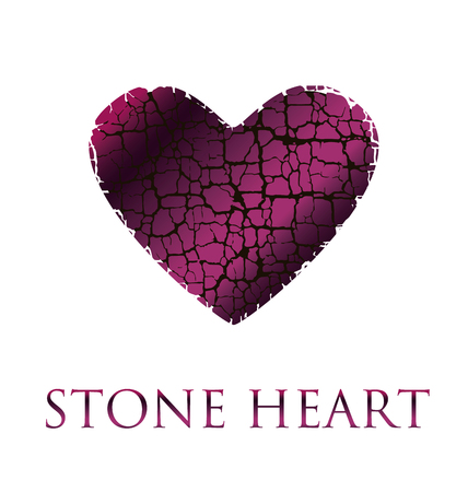 wine  pink: concept abstract broken heart vector illustration. modern style stone love icon. loving symbol simple image. dry broken to pieces heart wine pink color shape texture