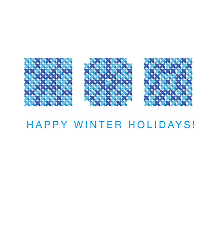 peasant: cross stitch vector ornament. traditional embroidery white and blue pattern. winter motif for card and greetings. peasant rustic style linen stitching scheme