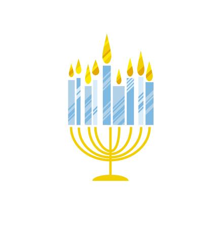 nuance: hanukkah juish vector illustration. jewish menorah simple vector icon. hanuka candles symbol.