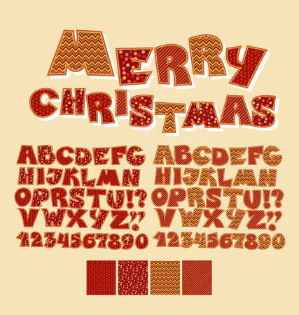 peasant: Christmas patchwork style abc font. Alphabet symbol set for xmas lettering. Cute peasant text letters with traditional patterns in red color