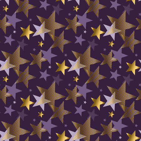 affiche: concept abstract starry night vector illustration. modern style factive star seamless pattern. luxury purple violet color background image. gold star graceful repairable motif Illustration