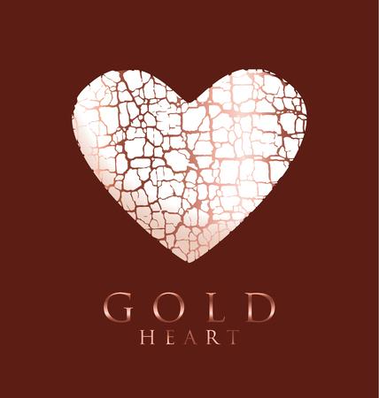 cracked antique surface heart shape. vector illustration of crack love icon. cracky gold love symbol. decorative antique textured vector illustration. valentine card concept. Illusztráció