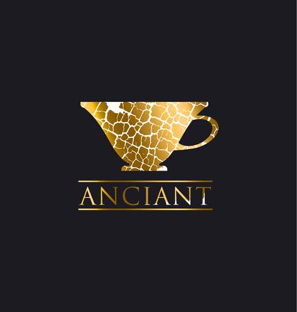 decorative antique textured vector illustration. gold luxury cup icon. antique decay symbol design element. old coffee cafe concept poster. Illusztráció