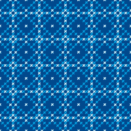 peasant: cross stitch vector ornament. traditional embroidery seamless pattern. winter blue and white repeatable motif for fabric and wrapping paper. peasant rustic style background