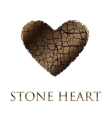broken love: concept abstract broken heart vector illustration. modern style stone love icon. loving symbol simple image. dry broken to pieces heart shape texture