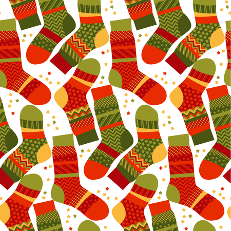 peasant: Christmas striped socks in patchwork style. Xmas seemless vector pattern. Peasant style fabric for warm xmas greetings. roostic folk-style repitable motif