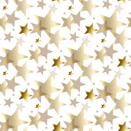 pale color: gold star luxury pastel color seamless pattern. abstract decorative Christmas vector illustration. gold and beige pale color winter festive background.
