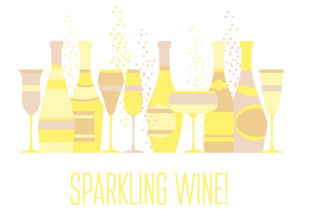 sparkling wine: assorted sparkling wine glasses and bottles. champagne concept flat vector illustration.  festive wedding wineglass and wine-bottle silhouette design. Illustration