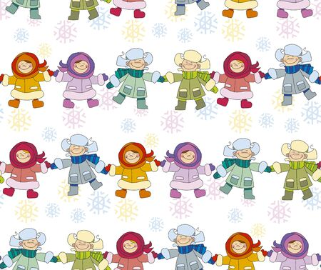 christmas motif: Boys and girls playing in the snow concept. Seamless pattern for fabric. Repeatable new year background. Adorable kids in winter clothes playing outdoor. Christmas celebration children cartoon vector illustration. Simple cute xmas motif.