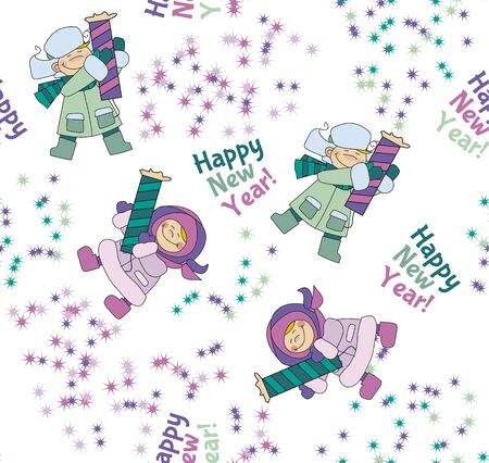 christmas motif: Little boy and girl shooting firecracker or fireworks. Seamless pattern for fabric. Repeatable new year background. Adorable kids in winter clothes playing outdoor. Christmas celebration children cartoon vector illustration. Simple cute xmas motif. Illustration