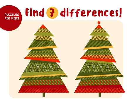 Big Christmas tree in traditional color style. Kid mind game vector illustration in Christmas style. Assorted things to find the match.