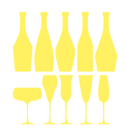 sparkling wine: assorted sparkling wine glasses and bottles. champagne concept flat vector illustration.