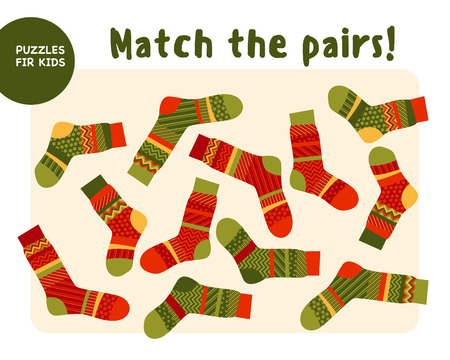 set of cool warm striped socks. Kid mind game vector illustration in Christmas style. Assorted things to find the match. 일러스트