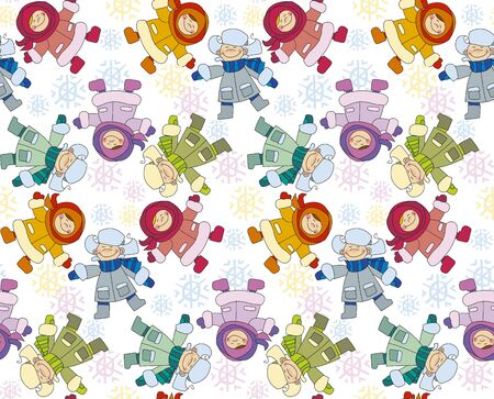 for boys: Boys and girls playing in the snow concept. Seamless pattern for fabric. Repeatable new year background. Adorable kids in winter clothes playing outdoor. Christmas celebration children cartoon vector illustration. Simple cute xmas motif.