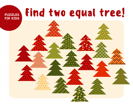 Little Christmas trees in traditional color style. Kid mind game vector illustration in Christmas style. Assorted things to find the match.