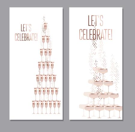 mousserende wijn begrip vector illustratie met gouden metalen elementen voor bruiloft of nieuwe jaar viering kaarten, uitnodigingen, posters.