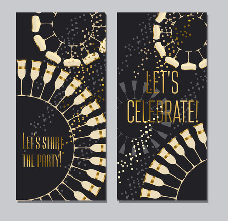 turns of the year: sparkling wine concept vector illustration with gold metal elements for wedding or new year celebration cards, invitations, posters.