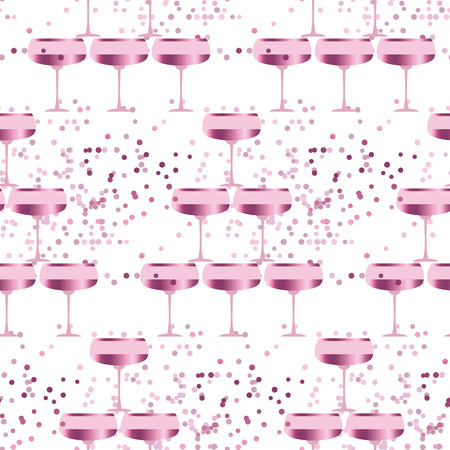 sparkling wine: elegant light seamless pattern with sparkling wine. celebration repeatable motif with rosy champagne for wrapping paper, wallpaper, fabric, background.