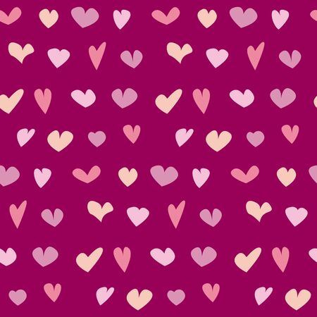 kiddy: valentine seamless polka dot pattern with hand drawn assorted hearts.  simple cute heart shape repeatable motif for fabric, wrapping paper, background